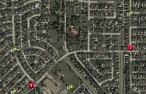 Neighborhood map with icons.