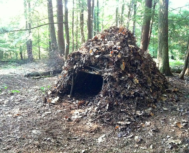 A simple debris shelter can insulate you from the cold and if done properly, conceal your location.