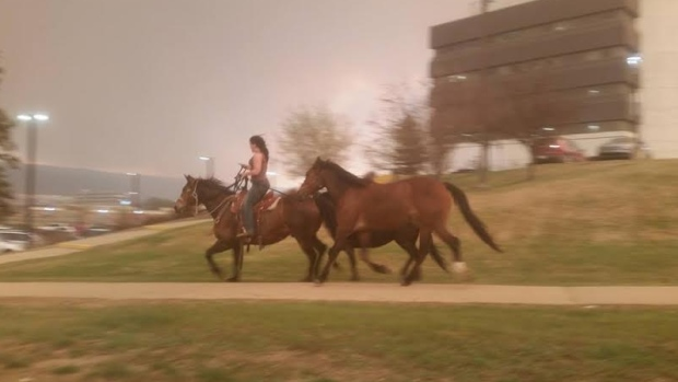 woman-on-horse-fleeing-fort-mcmurray-fire