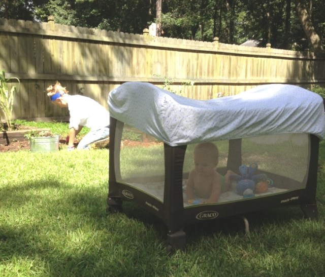 Image: An old bedsheet can be used to shade a baby or tractored livestock, or hung over a porch, used as window awnings and curtains, or spread like a tarp for even a few days or weeks to help beat blistering hot days.