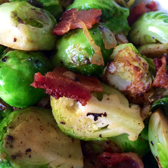 Sauteed Brussel Sprouts with Crispy Bacon