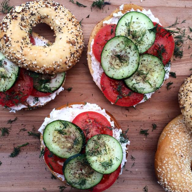 Open-faced Bagel Sandwiches