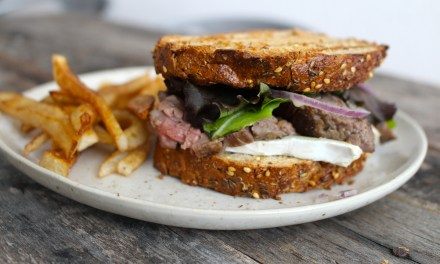 Grilled Steak Sandwich with Creamy Brie and Fries