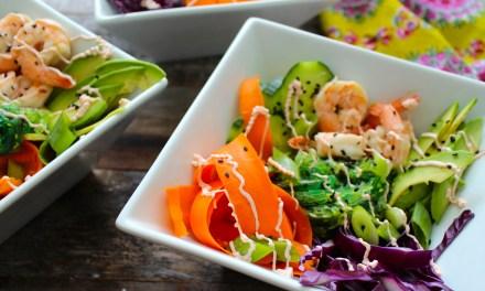 """Shrimp Sushi Bowls with Sriracha """"Mayo"""""""