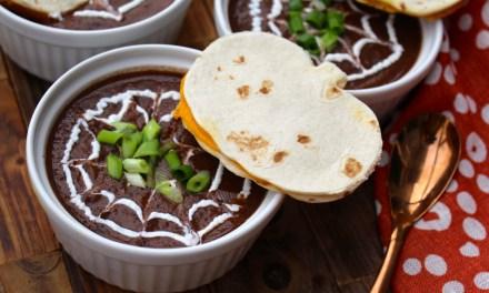 Spider Web Black Bean Soup and Pumpkin Quesadilla