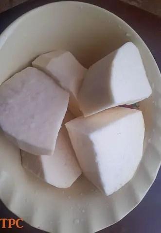 cut water yam for ojojo water yam fritters