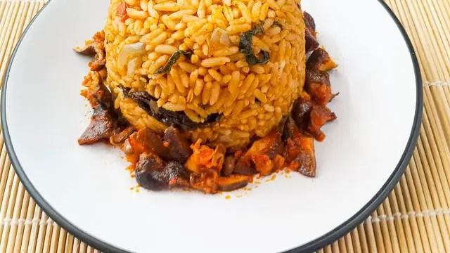 rich Nigerian palm oil jollof rice
