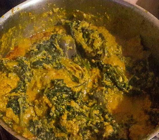 awa leaves added to ofe awa, awa soup