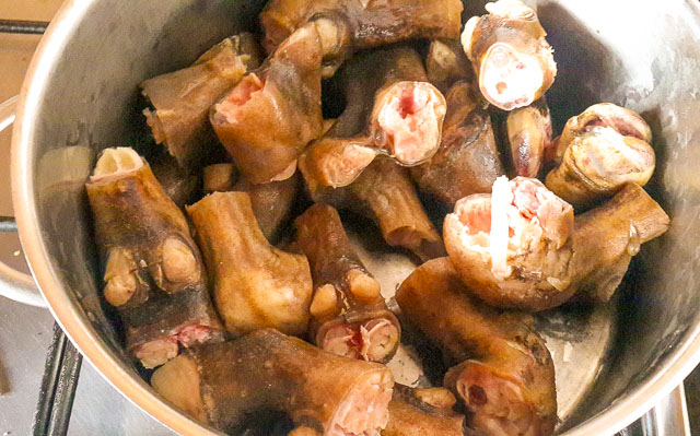 goat trotters cut up for homework
