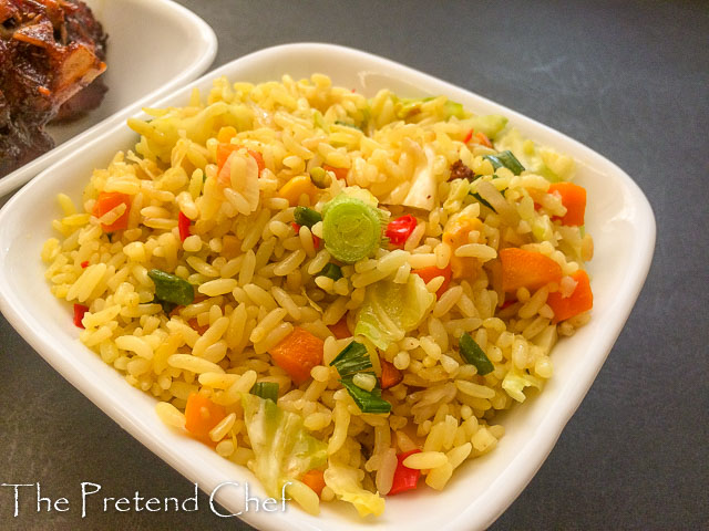 golden delicious Nigerian stir fried rice with vegetables
