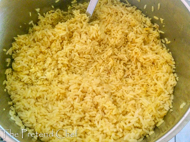 rice cooked in spiced meat stock for Nigerian stir fried rice-1