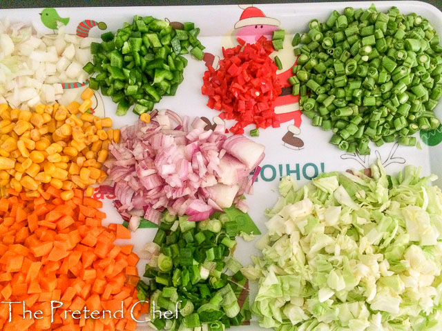 chopped vegetables for Nigerian stir fried rice-1