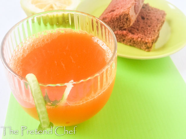 carrot orange drink with red velvet cake