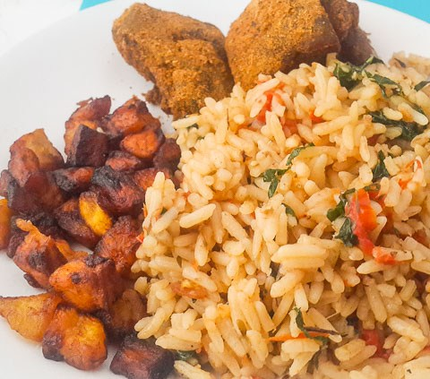 nigerian coconut rice, coconut rice with fried plantains