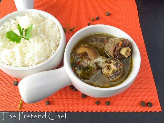 oxtail in a bowl , nigerian oxtail pepper soup