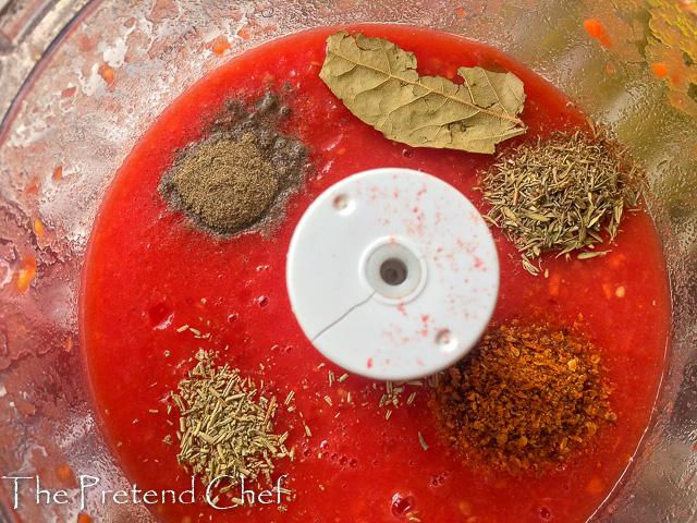 ground tomato and spices for fresh tomato sauce