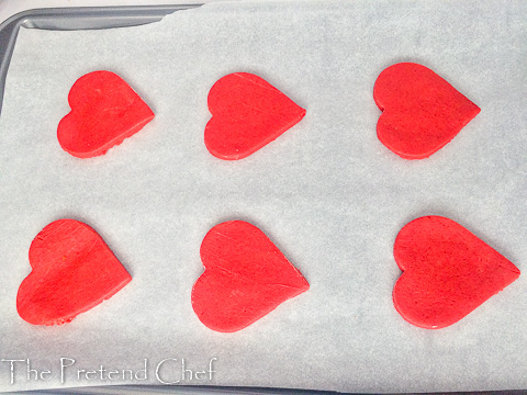 Heart shaped and ready to be baked valentine sugar cookies