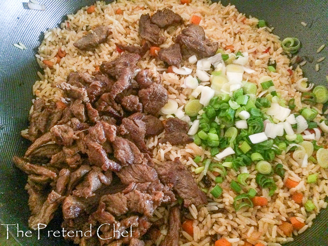 rice and beef for Stir fry meat for vegetable coconut rice