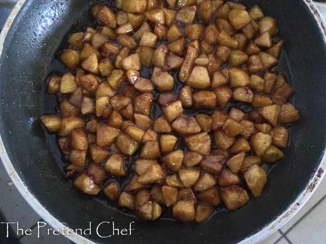 easy apple hand pie in sauce pan
