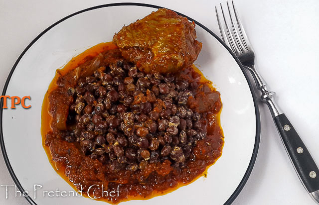 Pigeon pea in coconut milk served with Nigerian tomato stew