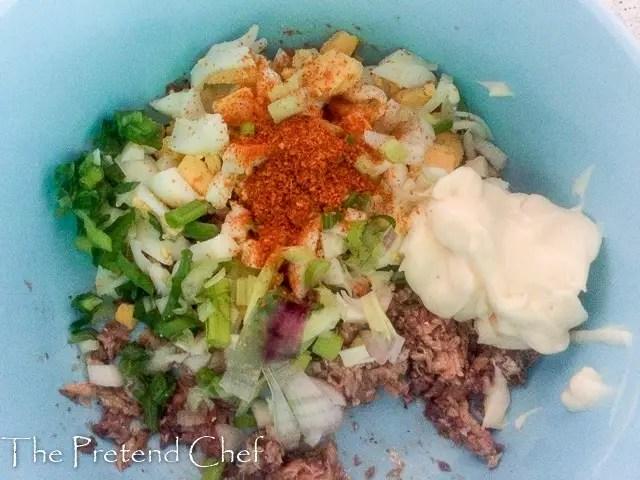 ingredients for Egg and Sardine empanada filling