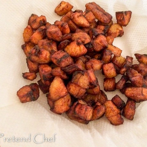 plantain cubes for Fried plantains recipe