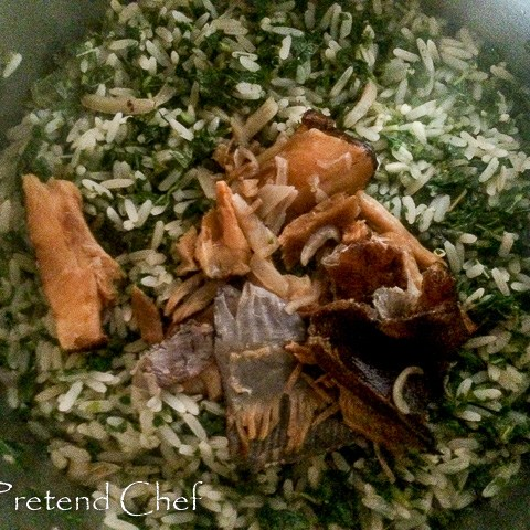 Green leafy vegetable rice with dry fish