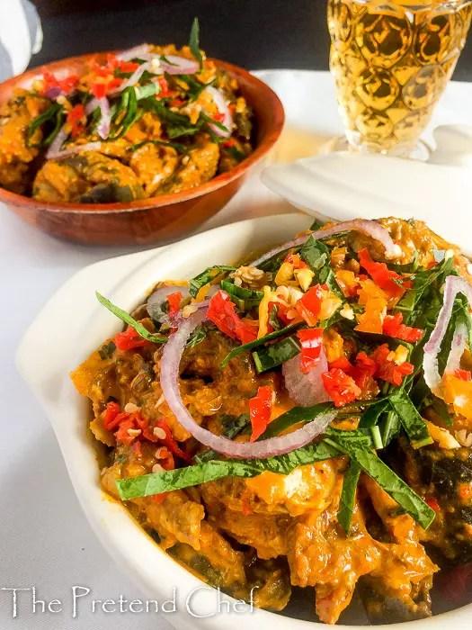 Isi ewu, goat head in spicy sauce