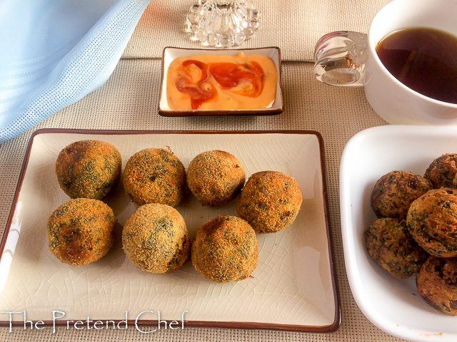 Potato and green vegetable balls (Green amaranth)