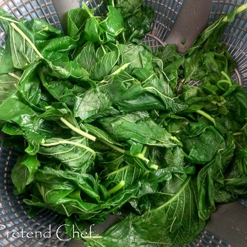 Blanched green amaranth