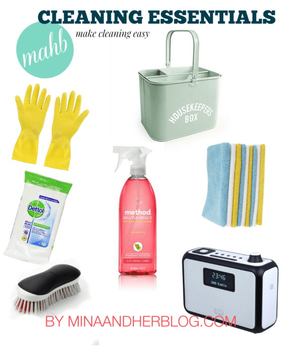 Cleaning Caddy Essentials Infograph Making Cleaning Easy By Minaandherblog.com