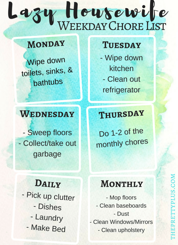 lazy housewife weekly chore list