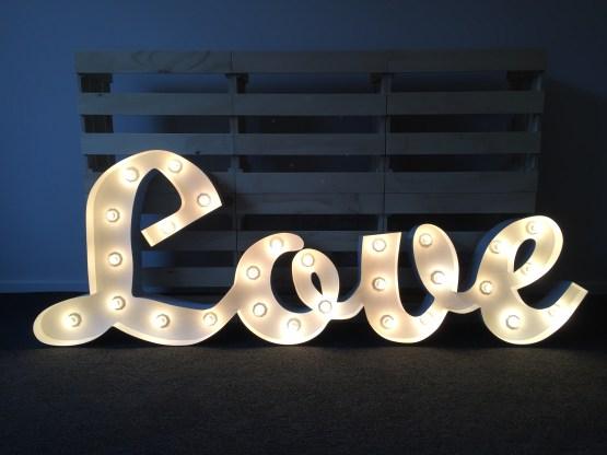 Love white letter light hire nz
