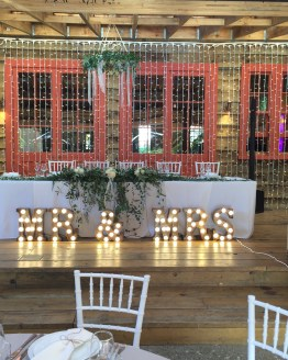 MR & MRS letter light hire