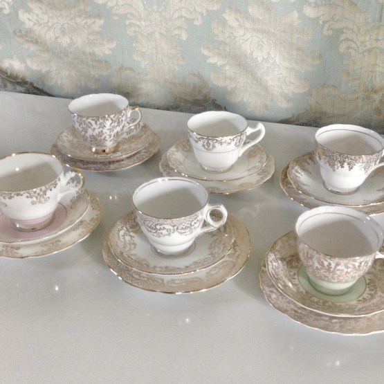 white and gold chintz teacup trio hire