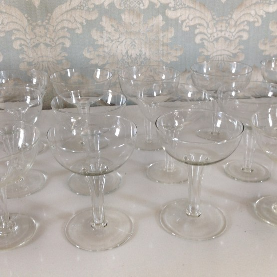 hollow stem champagne saucer hire