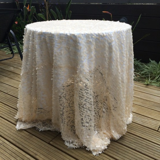ivory sequin tablecloth hire