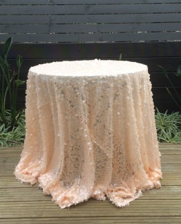 peach sequin tablecloth hire
