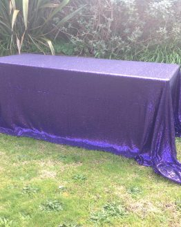purple sequin tablecloth rental auckland