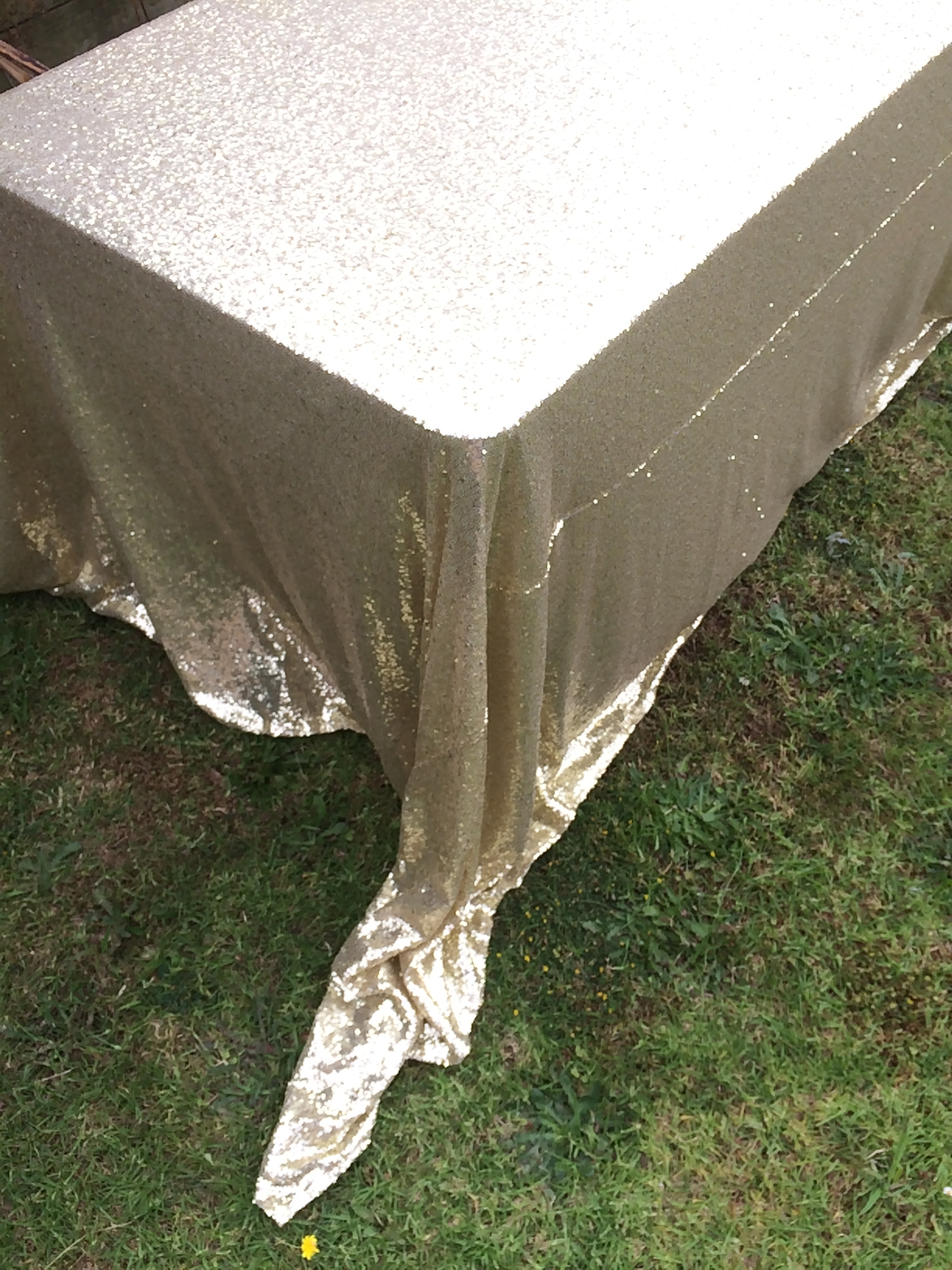 Rectangle Sequin Tablecloth 1 8m Gold The Pretty Prop