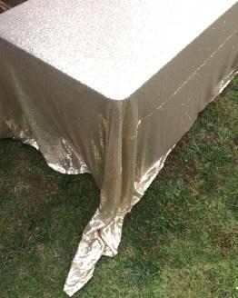 gold sequin tablecloth rental