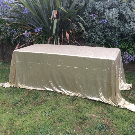 gold sequin tablecloth hire