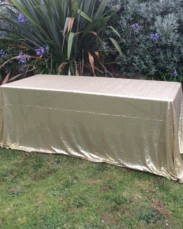 gold sequin tablecloth hire