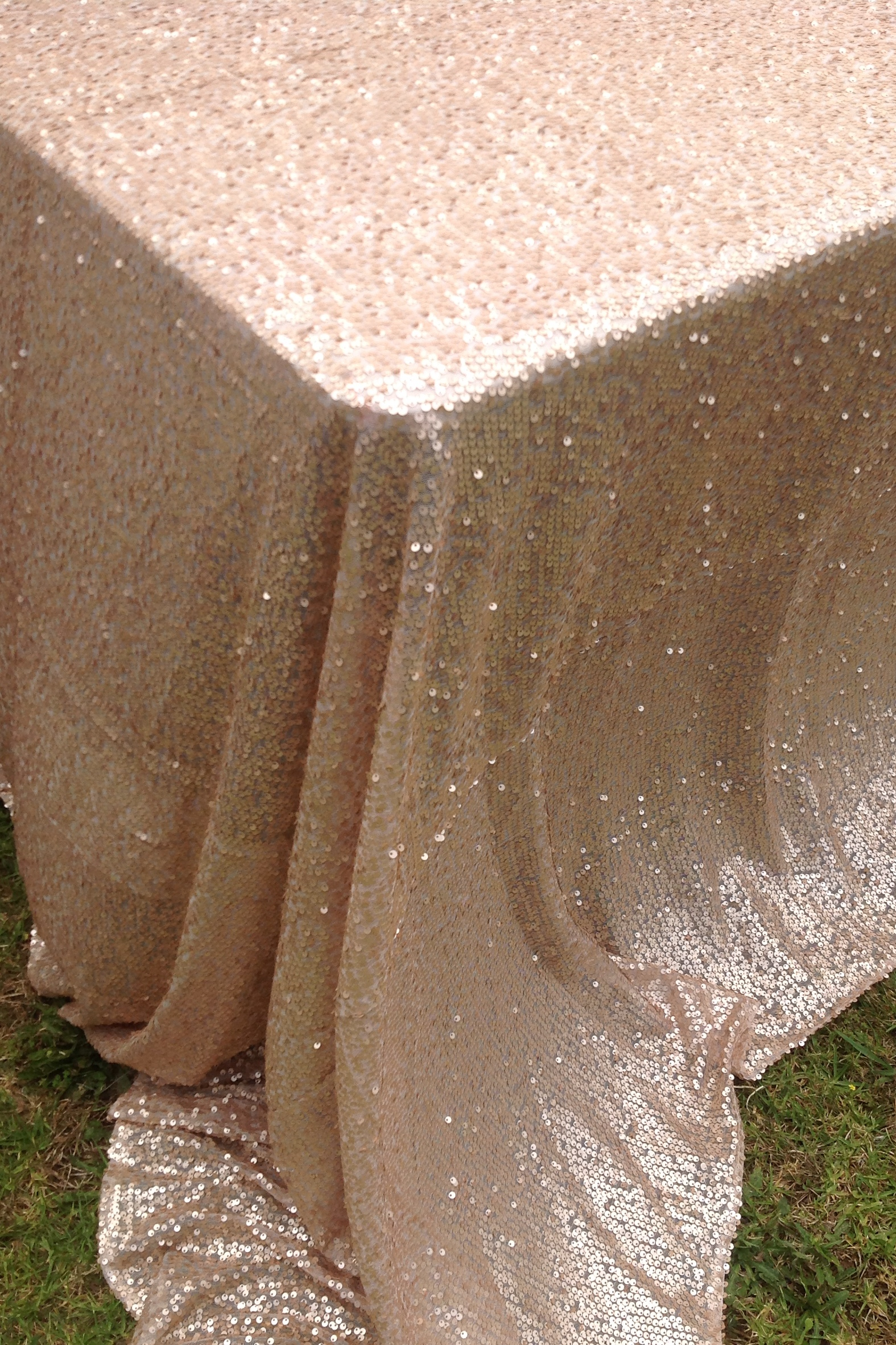 Rectangle Sequin Tablecloth 2 4m Matte Champagne The