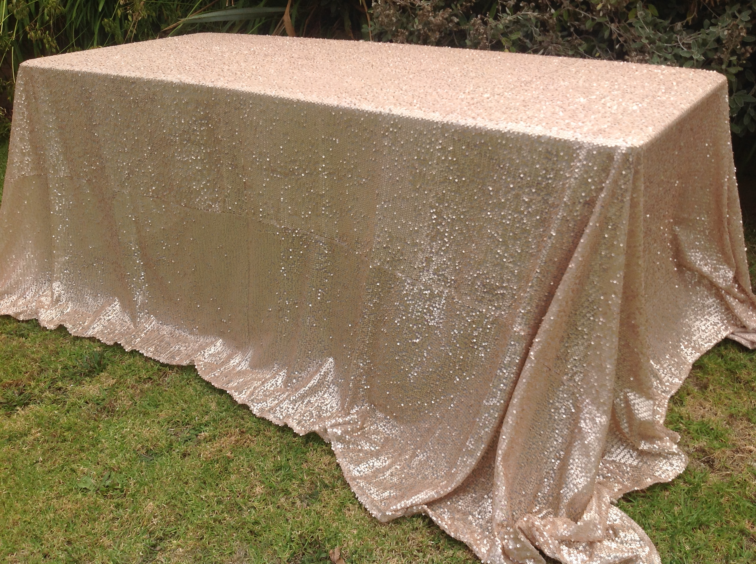 Rectangle Sequin Tablecloth 1 8m Matte Champagne The