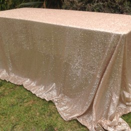 matte champagne sequin tablecloth hire