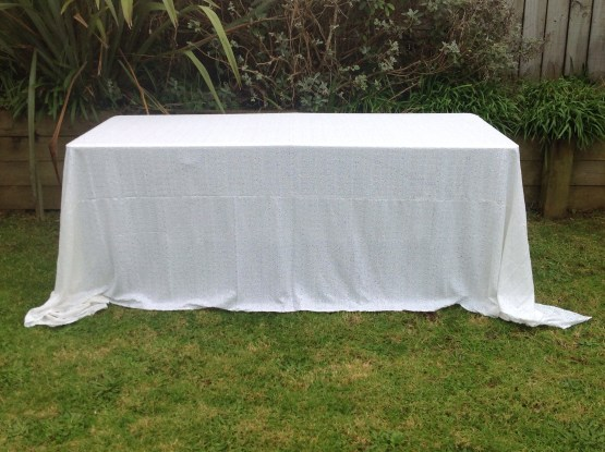 sequin tablecloth white rentals