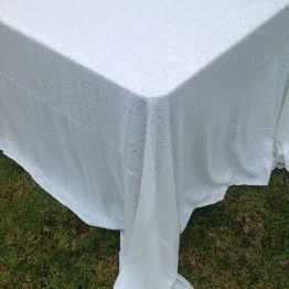 sequin tablecloth white rental