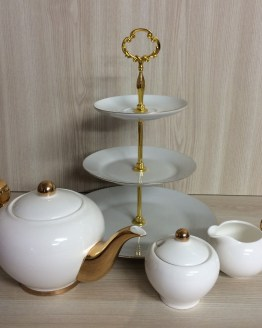 white and gold tea set hire nz