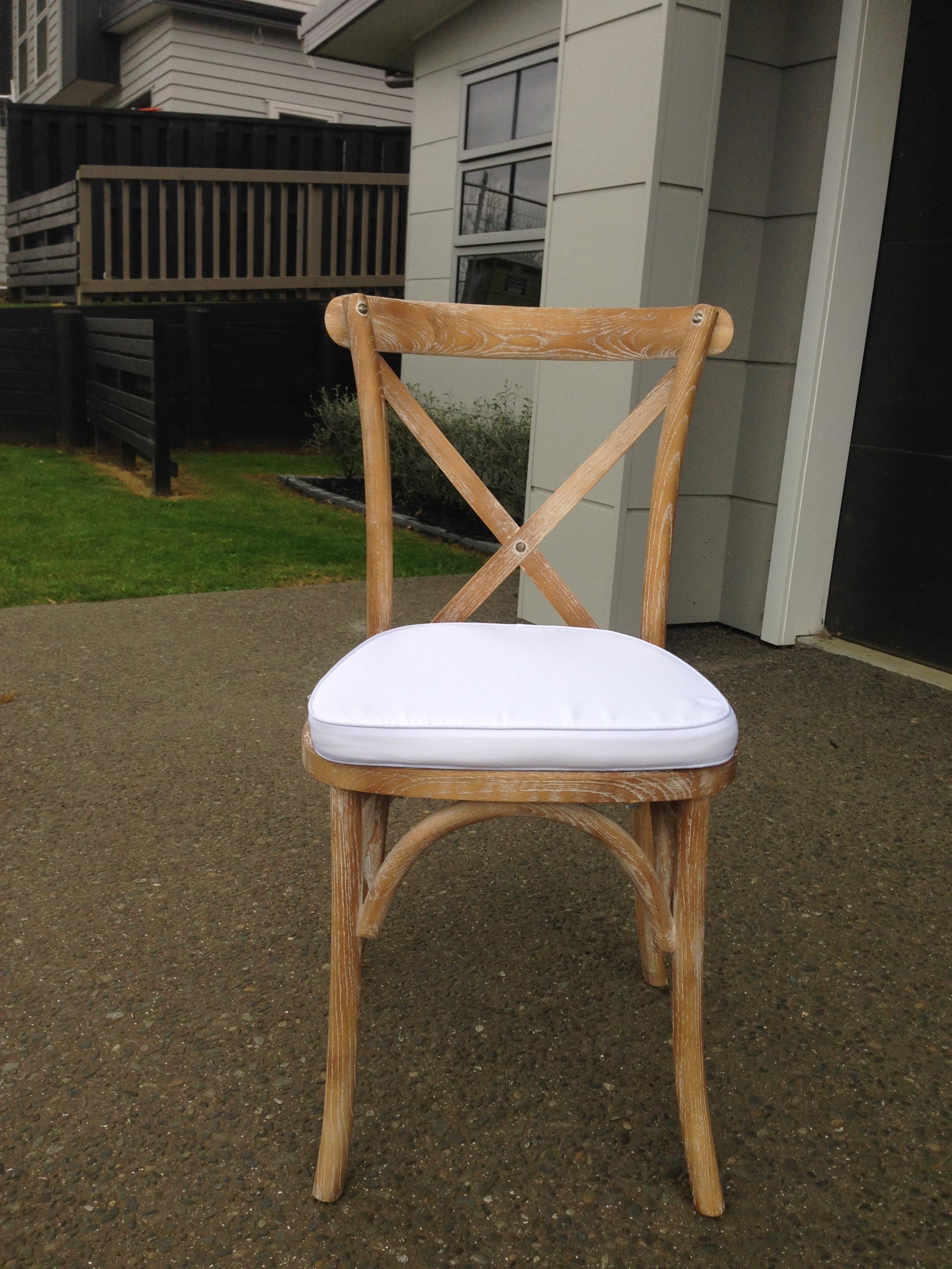 Wooden Cross Back Chair Whitewash